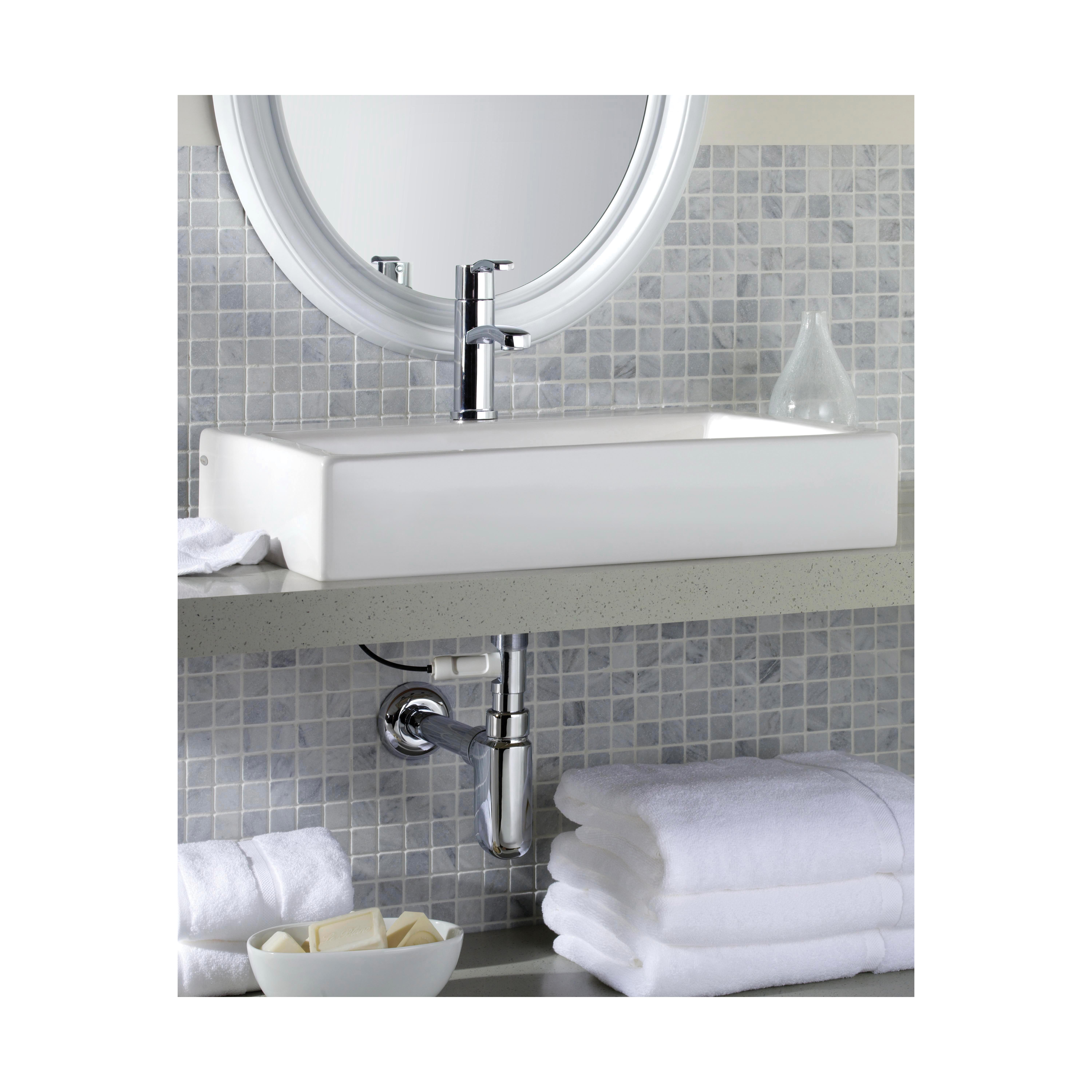 American Standard 0621.001.020 Studio™ Suite Lavatory Sink With Rear Overflow, Rectangular, 22 in W x 4-1/2 in D x 18-1/2 in H, Above Counter Mount, Vitreous China, White, Import