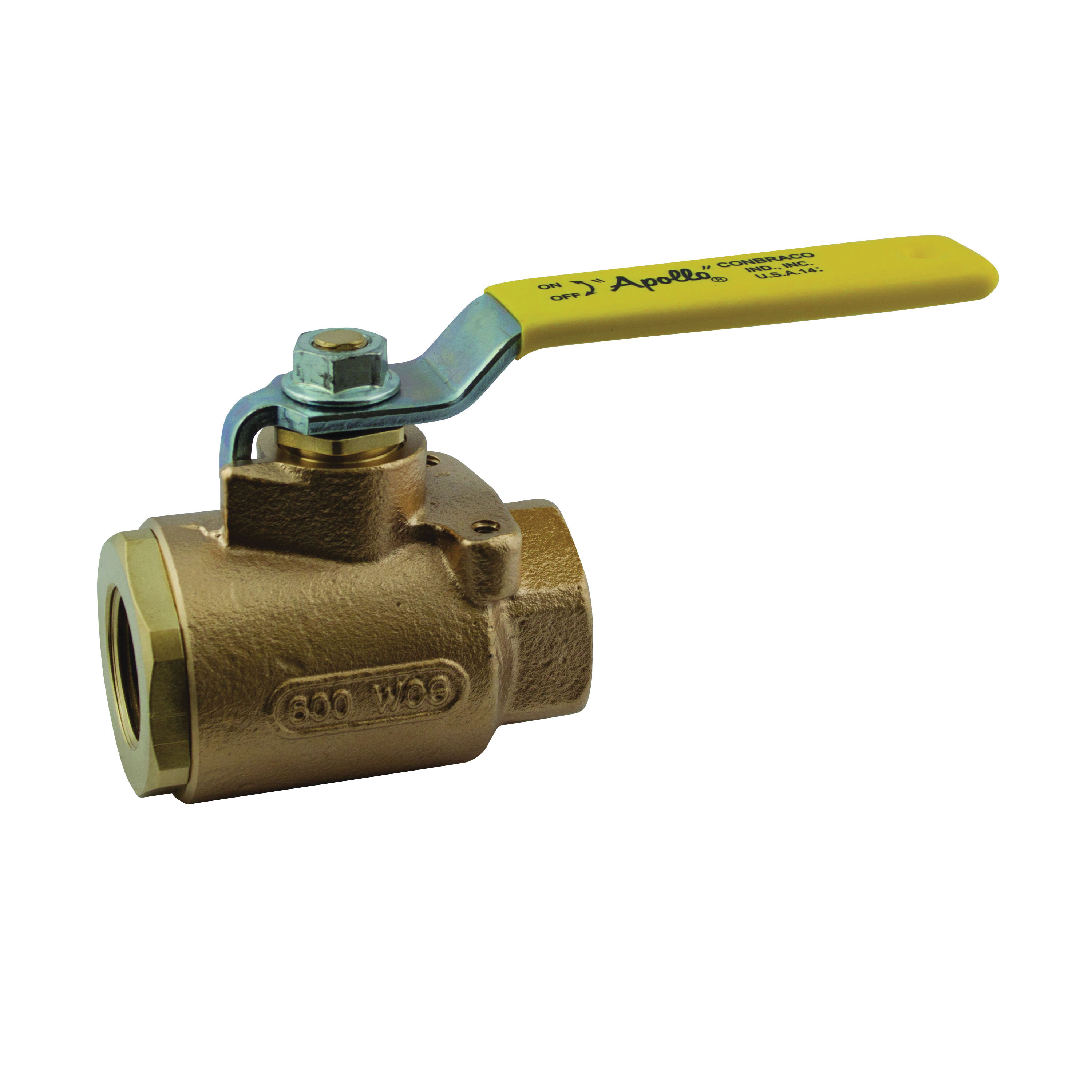 Apollo™ 77-143-10 77-140 2-Piece Ball Valve With Mounting Pad, 1/2 in, FNPT, Bronze Body, Full Port, RPTFE Softgoods, Domestic