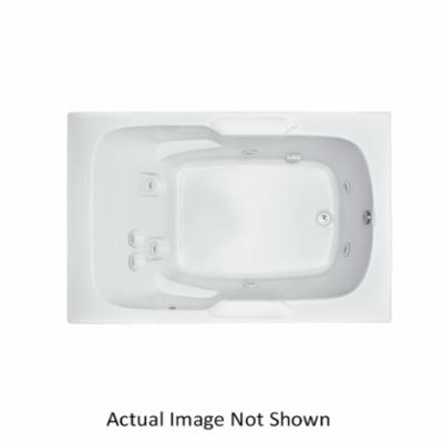Aquatic AI7248R-WH Del Ray AI7248R-WH Estate 1-Piece Bathtub, Whirlpool, Rectangular, 72 in L x 47-3/4 in W, Universal Drain, White