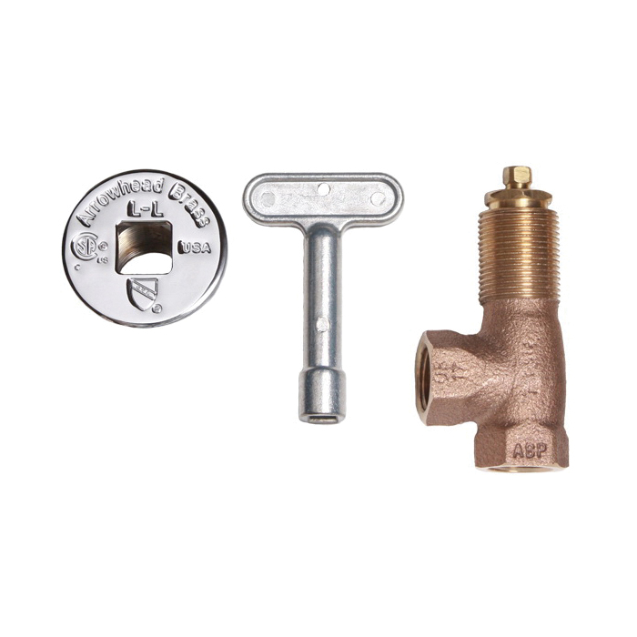 Arrowhead Brass 259 Heavy Duty Angle Log Lighter Valve With Chrome Flange and Key, 1/2 in, FNPT, Red Brass Body, Domestic