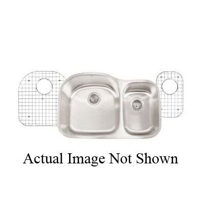 Artisan MH3220-D8/7R Manhattan Reverse Model Kitchen Sink, 10-1/2 in L x 16 in W x 7 in D Left Bowl, 17-3/4 in L x 18-1/2 in W x 8 in D Right Bowl, 31-1/8 in L x 20-1/2 in W, Under Mount, Stainless Steel, Luster Brushed