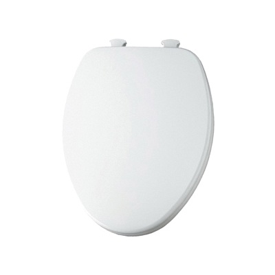 Church® 7F585EC 390 Toilet Seat With Cover, Elongated Bowl, Closed Front, Wood, Cotton White, Easy Clean/Change® Hinge