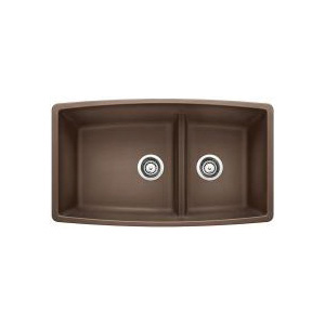 Blanco 441313 Kitchen Sink, PERFORMA™ SILGRANIT® II, Rectangular, 18 in L x 17-1/2 in W x 10 in D Left Bowl, 12 in L x 17-1/2 in W x 10 in D Right Bowl, 33 in L x 19 in W, Under Mount, Solid Granite, Cafe Brown