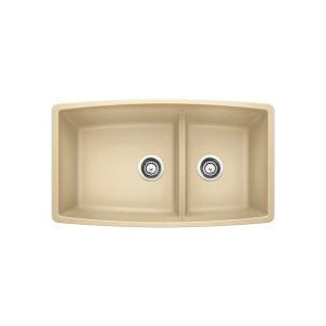 Blanco 441314 Kitchen Sink, PERFORMA™ SILGRANIT® II, Rectangular, 18 in L x 17-1/2 in W x 10 in D Left Bowl, 12 in L x 17-1/2 in W x 10 in D Right Bowl, 33 in L x 19 in W, Under Mount, Solid Granite, Biscotti