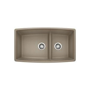 Blanco 441315 Kitchen Sink, PERFORMA™ SILGRANIT® II, Rectangular, 18 in L x 17-1/2 in W x 10 in D Left Bowl, 12 in L x 17-1/2 in W x 10 in D Right Bowl, 33 in L x 19 in W, Under Mount, Solid Granite, Truffle