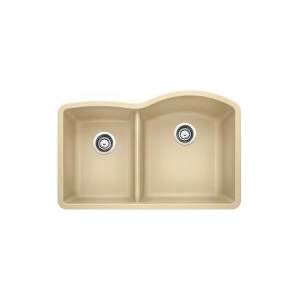 Blanco 441607 Kitchen Sink, DIAMOND™ SILGRANIT® II, 12-1/2 in L x 17 in W x 9-1/2 in D Left Bowl, 16-1/2 in L x 20-7/8 in W x 9-1/2 in D Right Bowl, 32 in L x 20-7/8 in W, Under Mount, Solid Granite, Biscotti