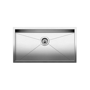 Blanco 515820 STEELART™ Kitchen Sink, PRECISION™, Rectangular, 30 in L x 16 in W x 10 in D Bowl, 32 in L x 18 in W, Under Mount, 18 ga 304 Stainless Steel, Polished Satin
