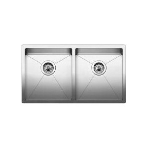 Blanco 519549 Kitchen Sink, Quatrus™, Rectangular, 14-1/2 in L x 16 in W x 9 in D Left Bowl, 14-1/2 in L x 16 in W x 9 in D Right Bowl, 32 in L x 18 in W, Under Mount, 18 ga 304 Stainless Steel, Polished Satin