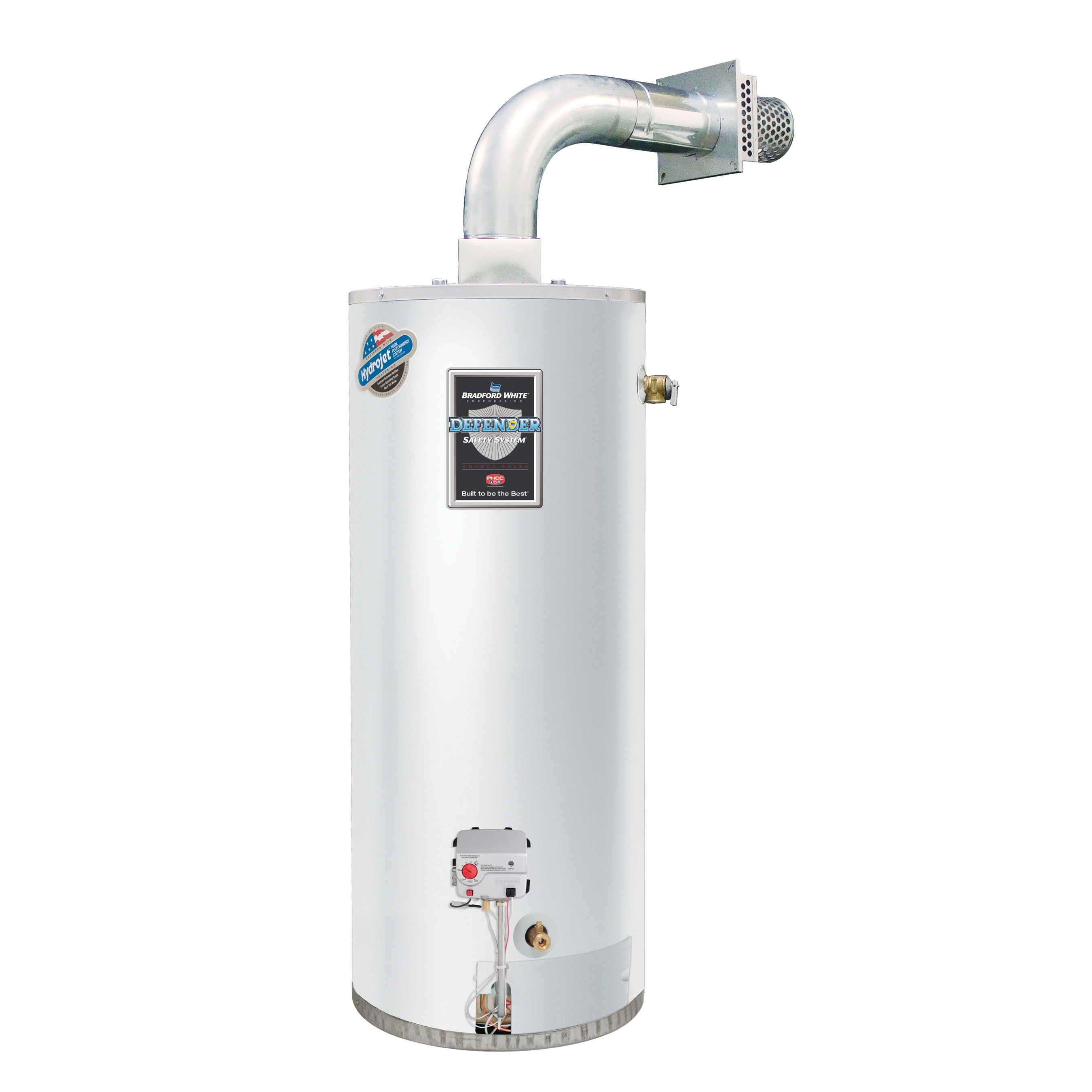 Bradford White® Defender Safety System® RG2DV50S6N-OLY Gas Water Heater, 42000 Btu/hr Heating, 50 gal Tank, Natural Gas Fuel, Direct Vent, 45 gph Recovery, Ultra Low NOx: No, Domestic