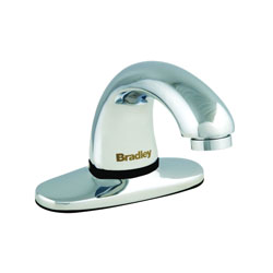 Bradley® S53-315 1200 Centershank Faucet With Trimplate, Aerada™, 0.5 gpm, 2 in H Spout, Chrome Plated, Function: Touchless