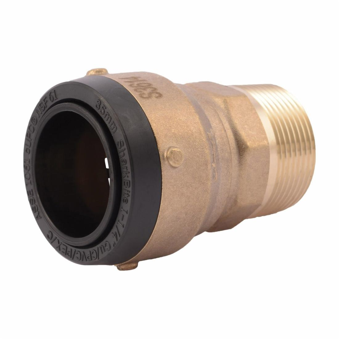 Sharkbite® SB113532M 2XL Large Diameter Male Connector, 1-1/4 in, Push-Fit x MNPT, Brass, Import