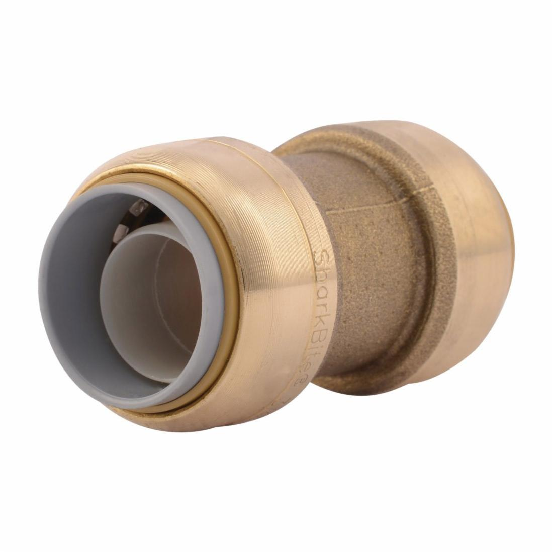 Sharkbite® U4016LF Transition Coupling, 3/4 in, Push-Fit, Brass, Natural Brass/Chrome Plated, Import