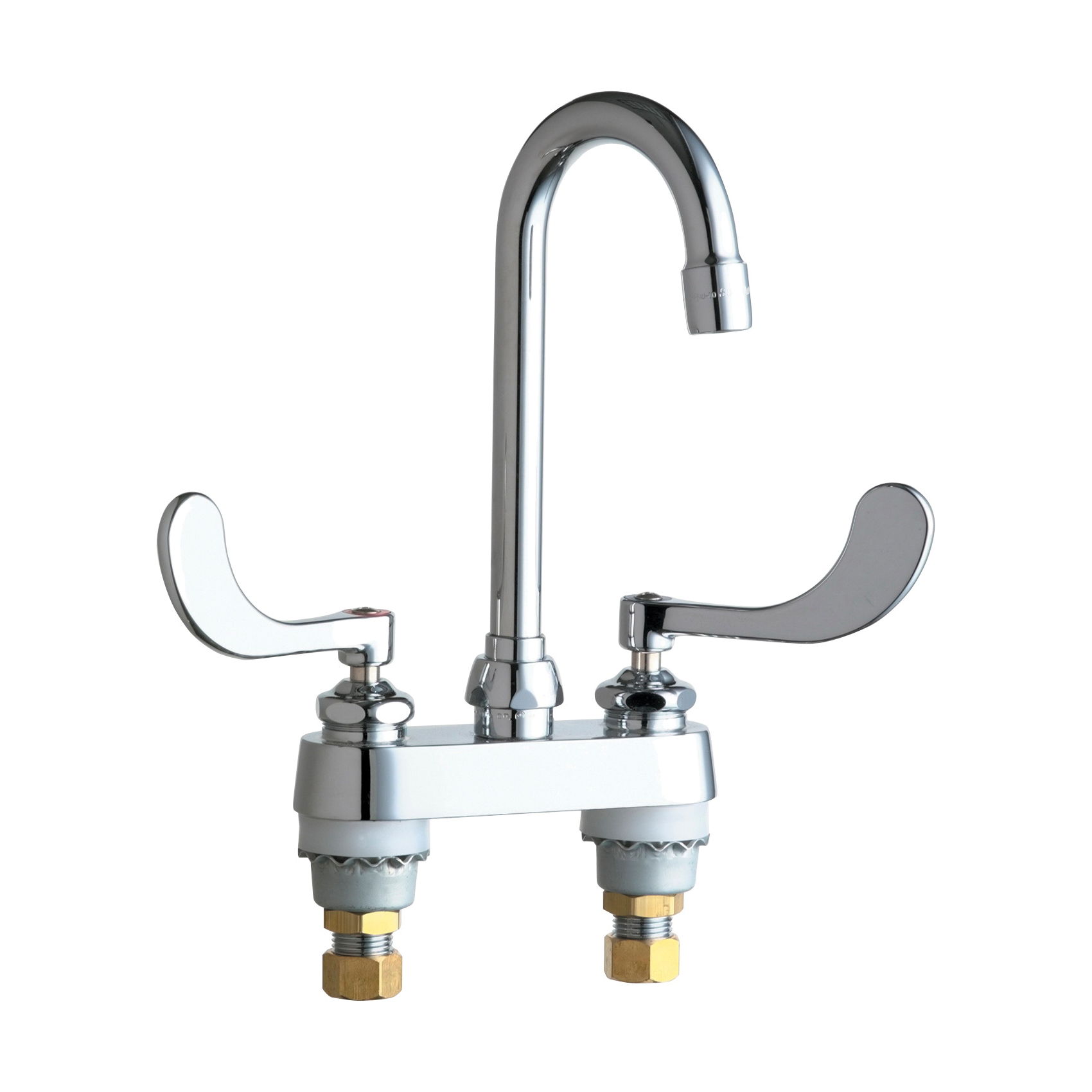 Chicago Faucet® 895-317E35ABCP Lavatory Sink Faucet, Chrome Plated, 2 Handles, 1.5 gpm