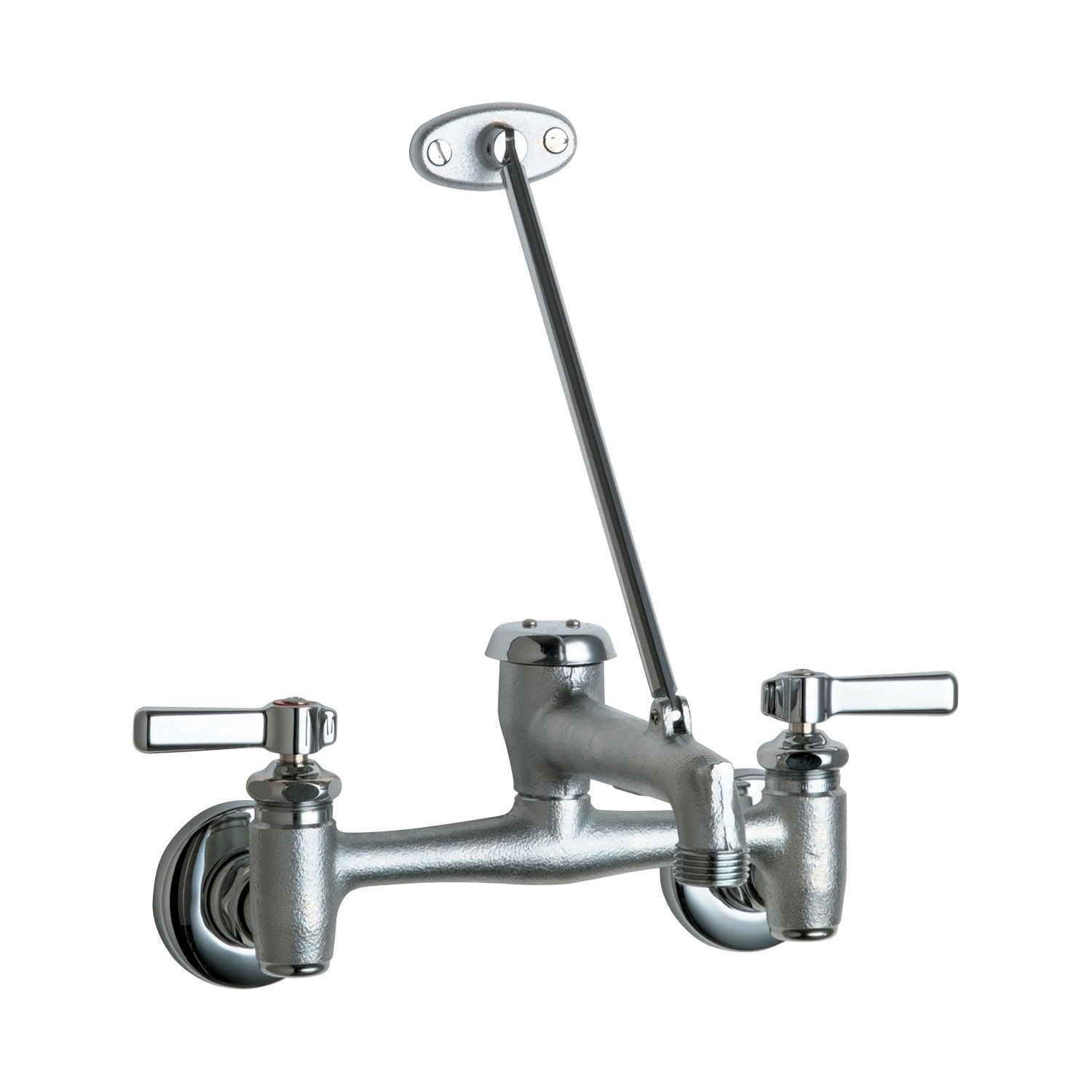 Chicago Faucet® 897-RCF Hot and Cold Water Sink Faucet, Wall Mount, 2 Handles, 7-5/8 to 8-3/8 in Center, Chrome Plated