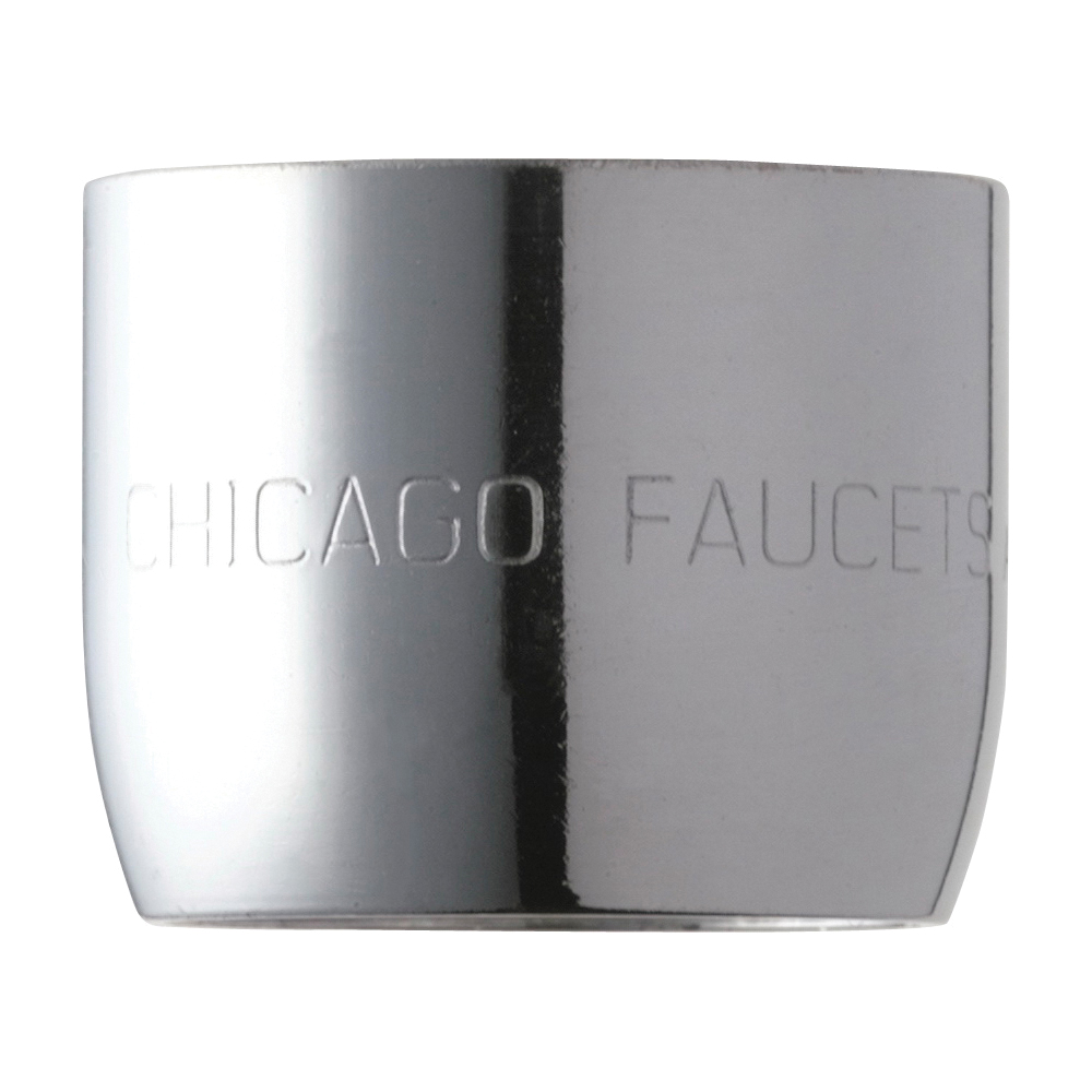 Chicago Faucet® Softflo® E35JKABCP Pressure Compensating Aerator, 13/16-24 UNS Female Thread, 1.5 gpm, Aerated Stream, Chrome Plated, Domestic