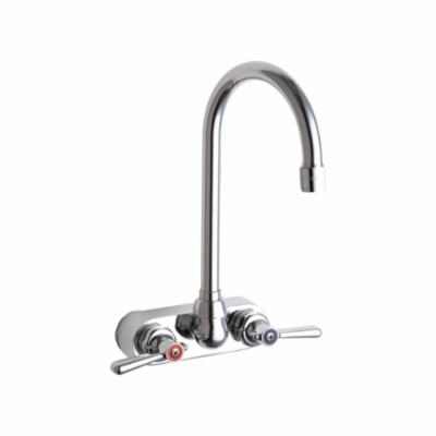 Chicago Faucet® 521-GN2AE35ABCP Hot and Cold Water Sink Faucet, Wall Mount, 4 in Center, 1.5 gpm, Chrome Plated