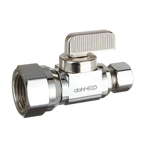 dahl dahal-Eco™ mini-ball™ 511-53-31 Straight Supply Stop, 1/2 x 3/8 in, FNPT x OD Compression, Brass Body, Import