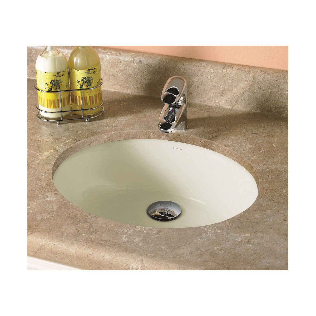 DECOLAV® 1401-CBN Classically Redefined® Bathroom Sink With Overflow, Oval, 19.25 in W x 16.25 in D x 7.13 in H, Under Mount, Vitreous China, Ceramic Biscuit, Import