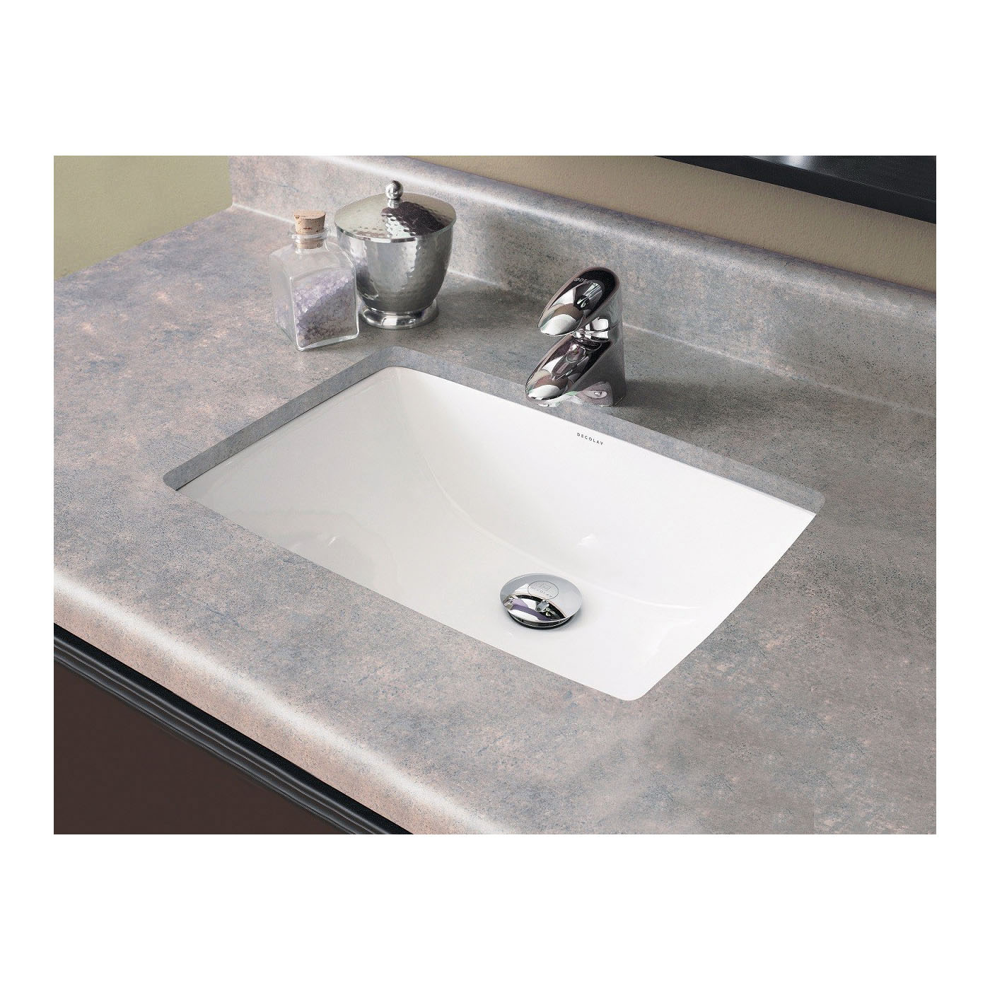 DECOLAV® 1402-CWH Classically Redefined® Bathroom Sink With Overflow, Rectangular, 20-1/4 in W x 14-1/4 in D x 8-1/4 in H, Under Mount, Vitreous China, Ceramic White, Import