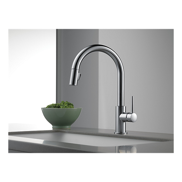 DELTA® 9159-AR-DST Kitchen Faucet, Trinsic®, 1.8 gpm, Arctic™ Stainless Steel, 1 Handle, 1/3 Faucet Holes, Function: Traditional, Domestic, Commercial
