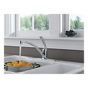 DELTA® B1310LF Foundations® Kitchen Faucet, 1.8 gpm, 8 in Center, Chrome Plated, 1 Handles, Import