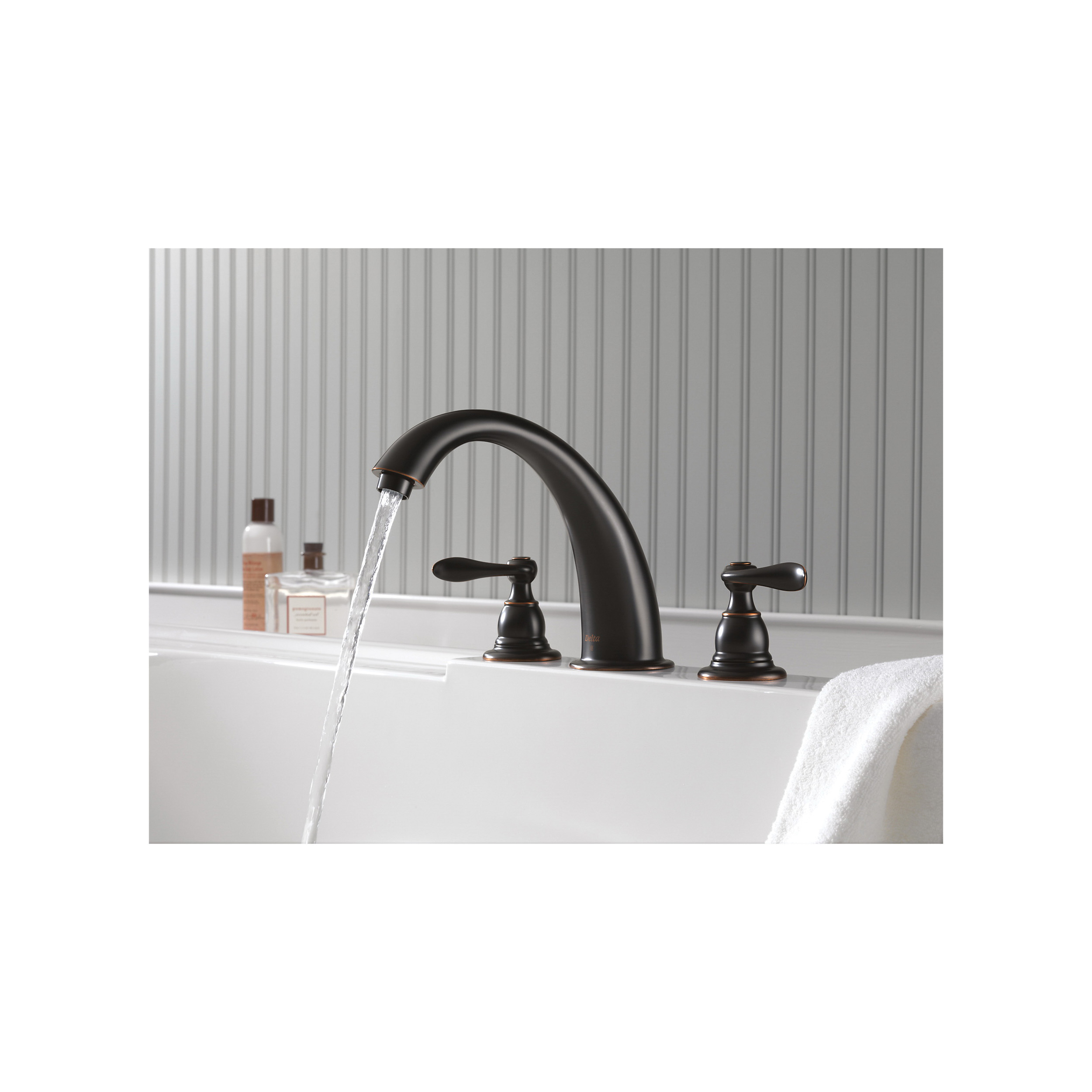 DELTA® BT2796-OB Roman Tub Trim, Windemere®, 18 gpm, 8 to 16 in Center, Oil Rubbed Bronze, 2 Handles, Function: Traditional, Hand Shower Yes/No: No, Import