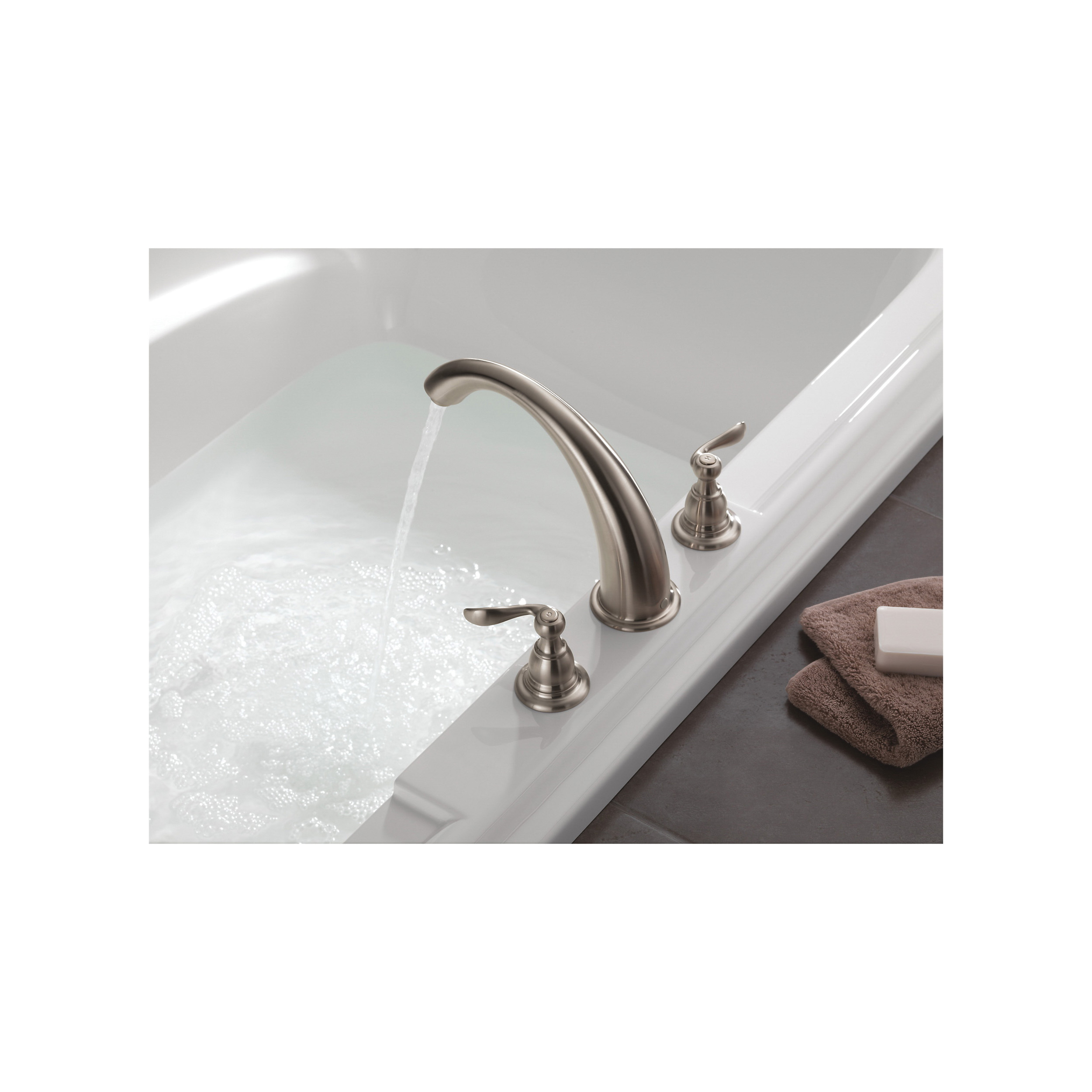 DELTA® BT2796-SS Roman Tub Trim, Windemere®, 18 gpm, 8 to 16 in Center, Stainless Steel, 2 Handles, Function: Traditional, Hand Shower Yes/No: No, Import