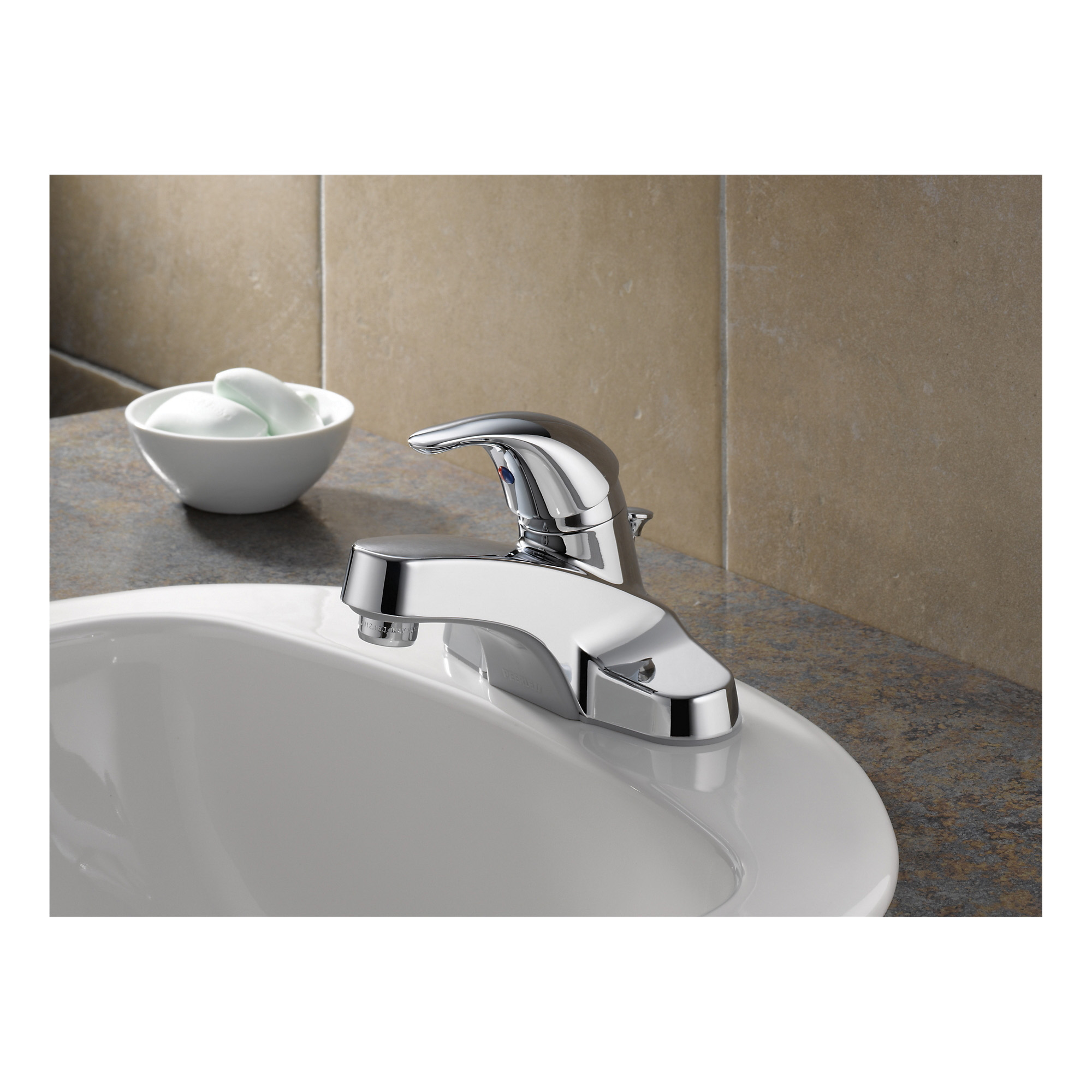 Peerless® P136LF-M Centerset Lavatory Faucet, Chrome Plated, 1 Handle, Metal Pop-Up Drain, 1.2 gpm, Import