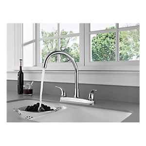 Peerless® P299568LF Kitchen Faucet, 1.8 gpm, 8 in Center, 2 Handles, Chrome Plated, Domestic, Commercial