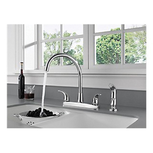 Peerless® P299578LF Kitchen Faucet, 1.8 gpm, 8 in Center, 2 Handles, Chrome Plated, Domestic, Commercial