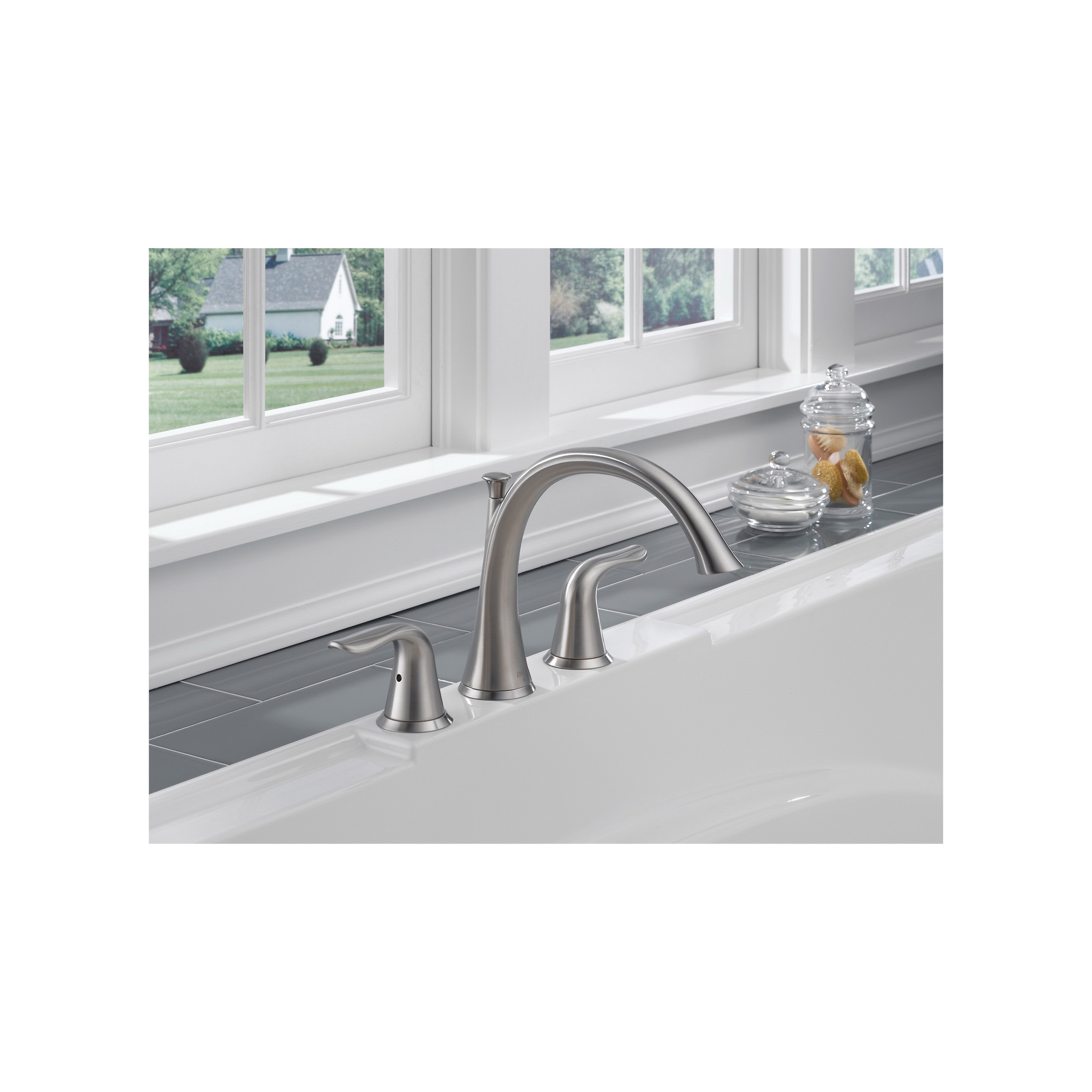 DELTA® T2738-SS Roman Tub Trim, Lahara®, 18 gpm, 8 to 16 in Center, Stainless Steel, 2 Handles, Function: Traditional, Hand Shower Yes/No: No, Domestic