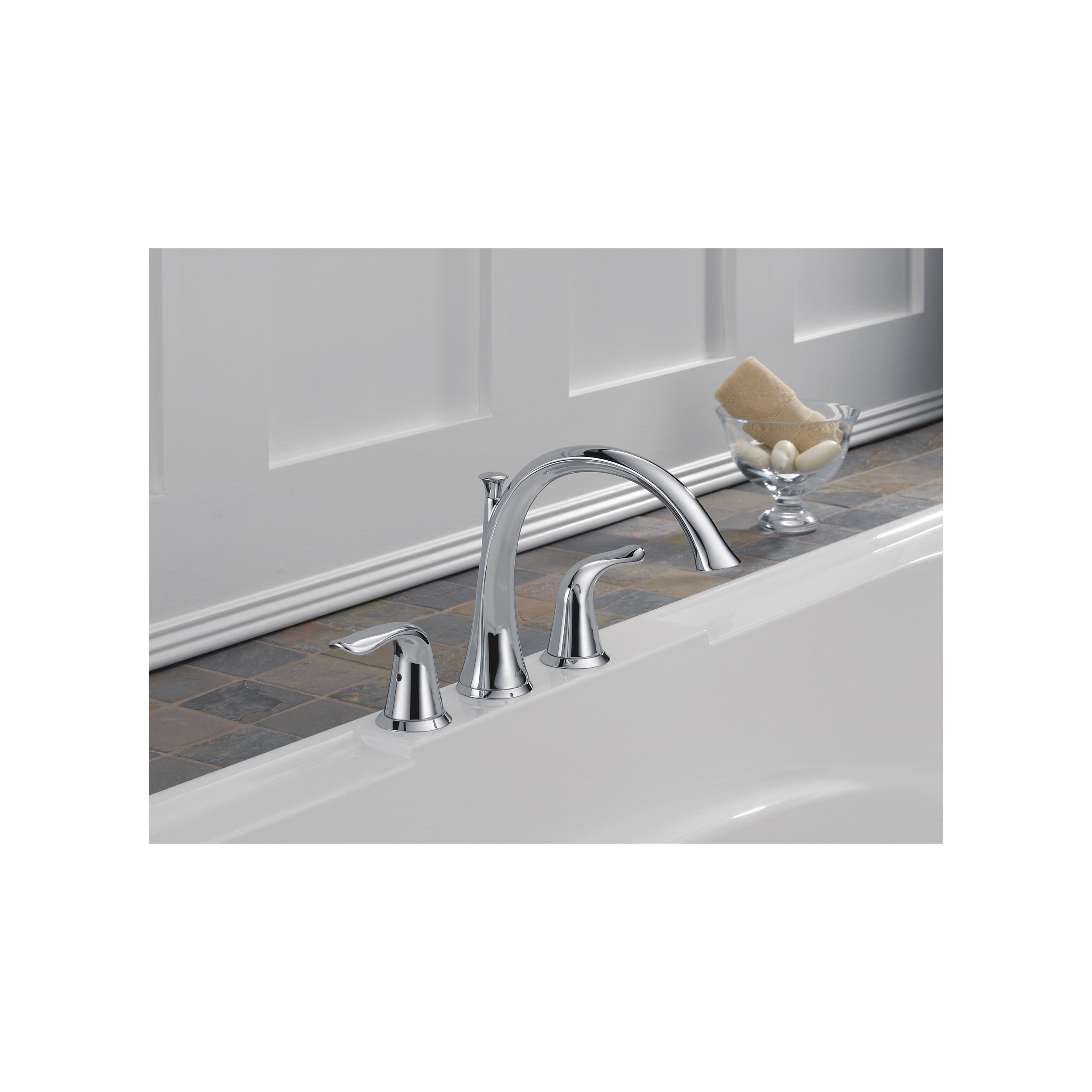 DELTA® T2738 Roman Tub Trim, Lahara®, 18 gpm, 8 to 16 in Center, Chrome Plated, 2 Handles, Function: Traditional, Hand Shower Yes/No: No, Domestic