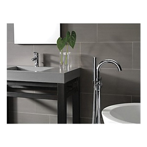DELTA® T4759-FL Trinsic®/Compel® Contemporary Tub Filler Trim, 1.75 gpm, Chrome Plated, 1 Handles, Hand Shower Yes/No: Yes, Domestic, Commercial
