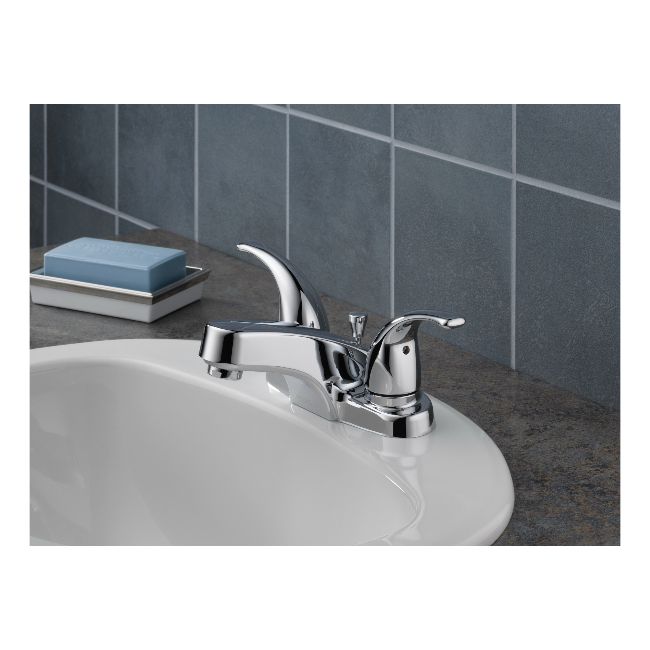 Peerless® P299628LF Centerset Lavatory Faucet, Chrome Plated, 2 Handles, Plastic Pop-Up Drain, 1.2 gpm, Import