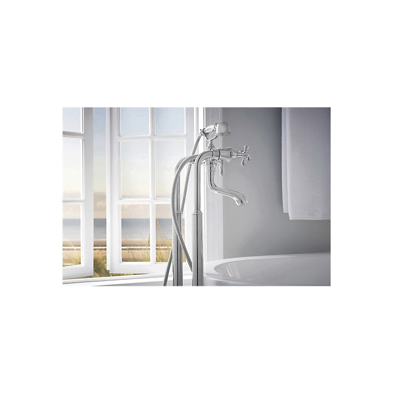 Brizo® T70210-PCLHP Tresa® Free Standing Tub Filler Body Assembly Trim, 8 in Center, Polished Chrome, Hand Shower Yes/No: No, Domestic