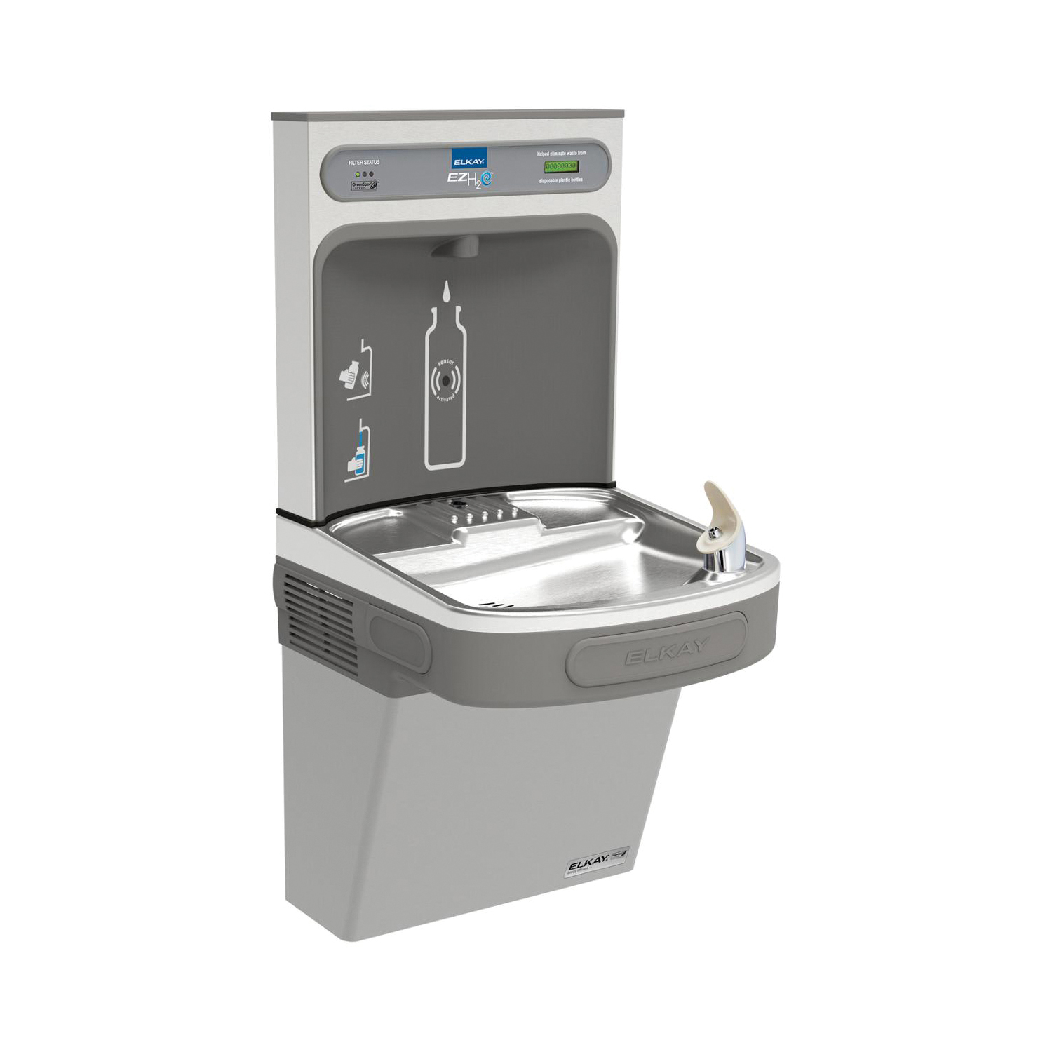 Elkay® LZSG8WSLK EZH2O® Filtered Bottle Filling Station and Cooler, 1.1 gpm, Push Bar/Sensor Operation, Refrigerated Chilling, 1 Station, Domestic