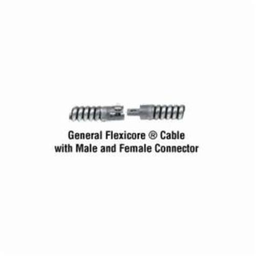 General Pipe Cleaners Flexicore® 100EM2 Replacement Cable With Male and Female Connector, 3/8 in Dia, For Use With Floor Model Machine, Steel