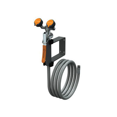 Guardian G5026 Wall Mounted Eyewash/Drench Hose Unit, 8 ft L Hose, Squeeze Valve, 3.2 gpm, PVC Hose, Specifications Met: ANSI Z358.1-2014