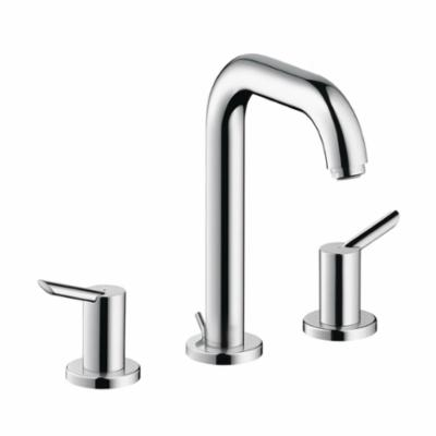Hansgrohe 31730001 Focus S Widespread Bathroom Faucet, 1.5 gpm, 5-3/8 in H Spout, 8 in Center, Chrome Plated, 2 Handles, Pop-Up Drain, Commercial