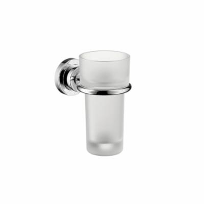 AXOR 41734000 Citterio Tumbler and Holder, 5-3/8 in H, Crystal Glass/Solid Brass, Chrome Plated, Import