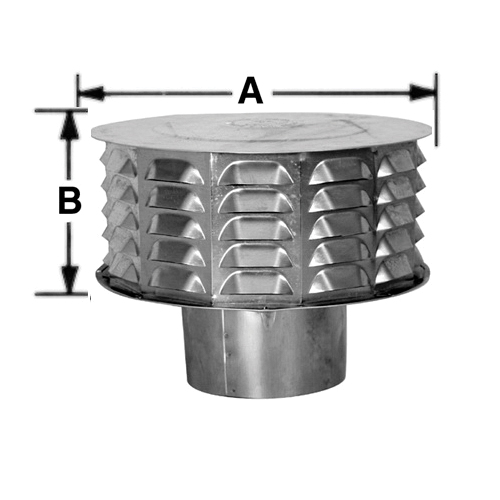 AmeriVent® 4CW Louvered Universal Cap, Aluminum, Fits 4 in Duct, 6-3/4 in W x 4-3/8 in H Cap, Import