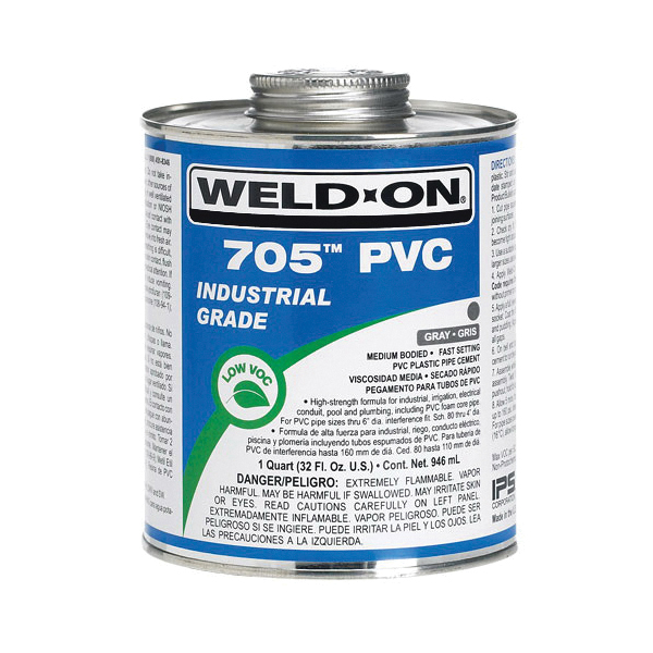 Weld-On® 705™ 10097 Low VOC Medium Bodied Fast Setting Cement With Applicator Cap, 0.5 pt Metal Can, Syrupy Liquid, Clear, 0.9611 at 23 deg C