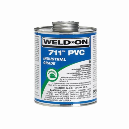 Weld-On® 711™ 10121 PVC Cement With Applicator Cap, 1 pt Can, Heavy Syrupy Liquid, Gray, 0.966