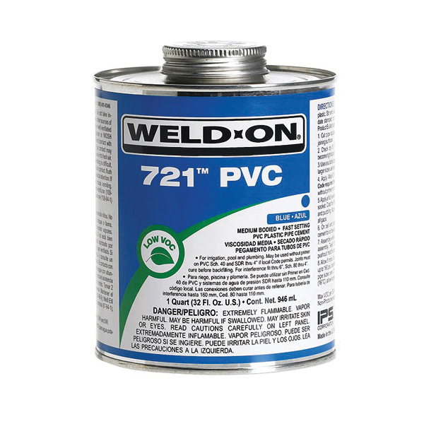 Weld-On® 721™ 10161 Low VOC Medium Bodied Fast Setting High Strength Solvent Cement, 1 qt Metal Can, Syrupy Liquid, Blue, 0.995 at 23 deg C