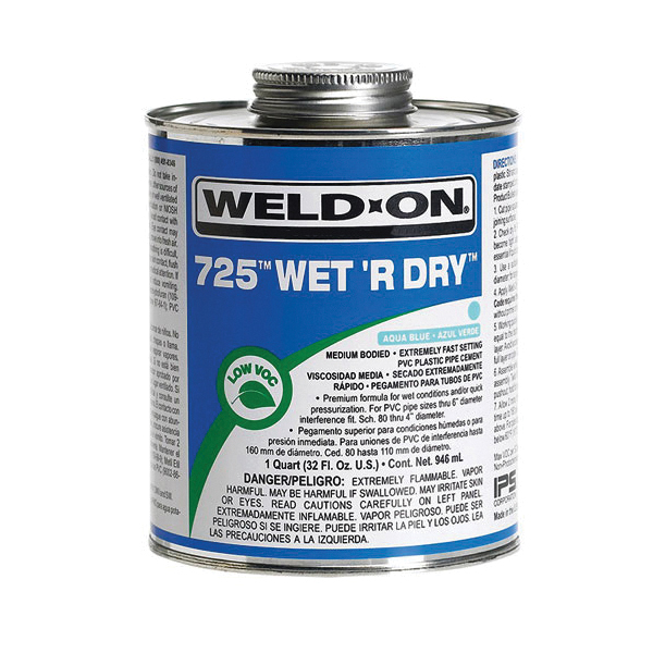 Weld-On® 725™ Wet R Dry™ 10167 Low VOC Medium Bodied Extremely Fast Setting Cement With Applicator Cap, 0.5 pt Metal Can, Syrupy Liquid, Aqua Blue, 0.924 at 23 deg C