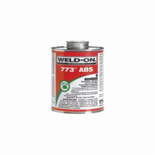Weld-On® 773™ 10243 Solvent Cement With Applicator Cap, 1 qt Can, Syrupy Liquid, Black, 0.890