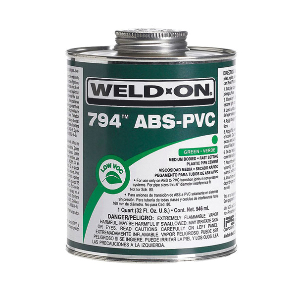 Weld-On® 794™ 10273 Low VOC Medium Bodied Fast Setting Cement With Applicator Cap, 1 qt Metal Can, Syrupy Liquid, Green, 0.927 at 23 deg C