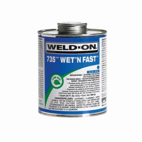 Weld-On® 735™ 12496 PVC Speciality Cement With Applicator Cap, 1 pt Can, Medium Syrupy Liquid, Blue, 0.926