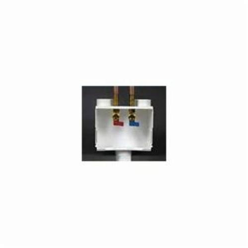 Water-Tite DU-ALL™ 82052 Outlet Box With Quart Turn Valve, For Use With Dual Drain Washing Machine, 1/2 in C, Brass, White, Domestic