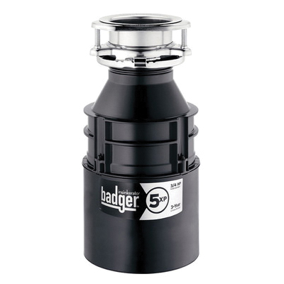 Insinkerator® 75993 Badger® 5XP Continuous Feed Garbage Disposal Without Cord, 1-1/2 in Drain, 3/4 hp, 120 VAC, 1725 rpm Grinding, 26 oz Grinding Chamber, Domestic